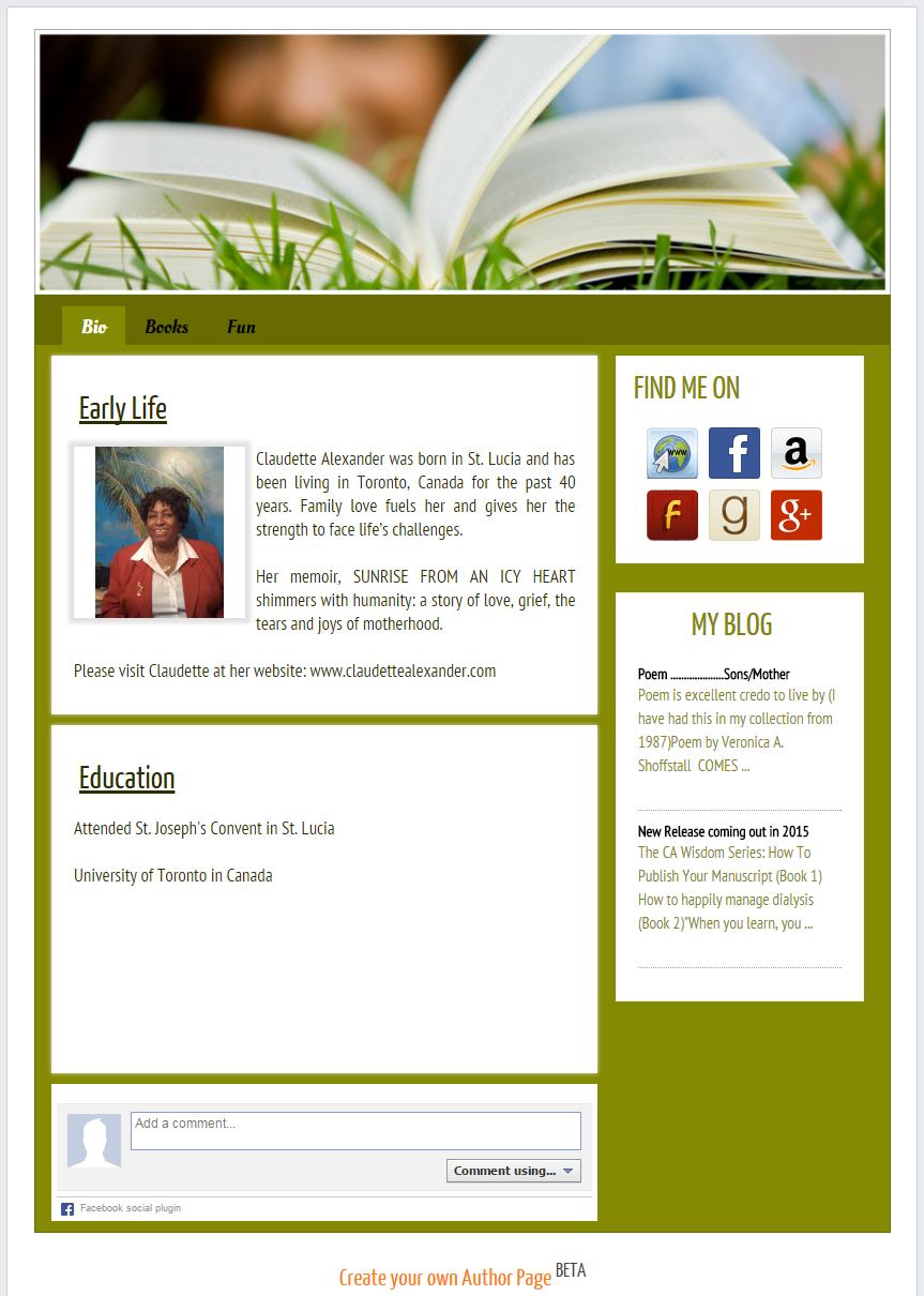 Claudette's author page